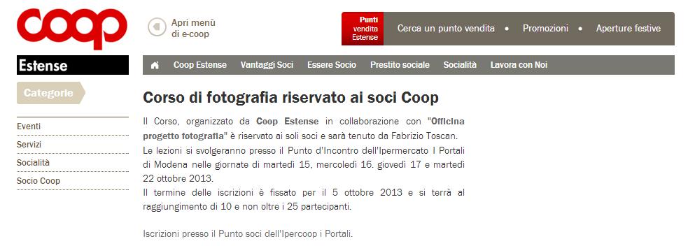 Collaborazione con Coop Estense